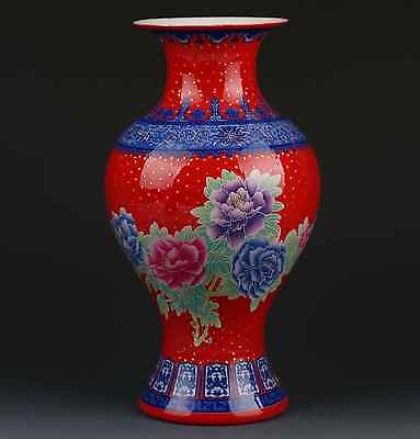 Chinese Color Porcelain Hand-Painted peony Vase W Qianlong Mark G295