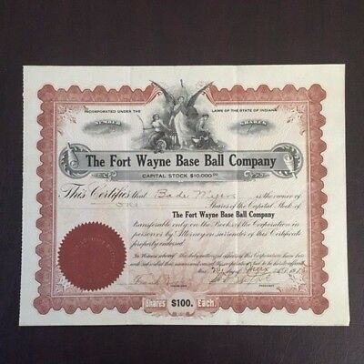 Vintage Stock Certificate Indiana Fort Wayne Cubs Baseball Central League 1915