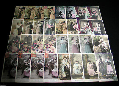 Lot B02 : 32 Cpa Fantaisie Serie Couple Femme Miss Mode Charme Theatre Amour
