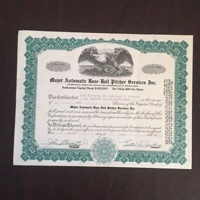 Vintage Baseball Stock Certificate Major Automatic Base Ball Pitcher Services 52