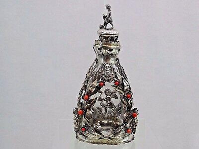 Antique Silver / Coral Decanter Hand Cut Crystal  Liquor Whisky Cognac Wine