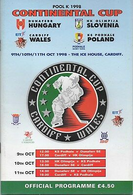 Oct 98 CARDIFF DEVILS v Olimpija, Dunaferr, Podhale CONTINENTAL CUP