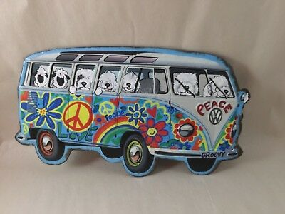 Tin sign Hippie Bus filled with hand painted Old English sheepdogs and sheep!!