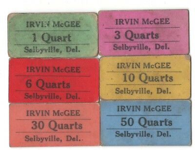 Irvin McGee Strawberry Checks / Tickets Selbyville, Delaware – Set of 6