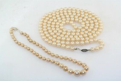 "Vintage 2 Strand Faux Pearl Necklace Strands 52"" Opera Length 14"" Choker"
