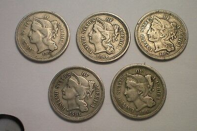 1865, 1867 And 1881 Three Cent Nickel Lot / 5 Coins / 2 1865, 2 1867, 1 1881