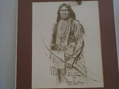 sioux leader KICKING BEAR art print with date & signature unusual clearance find