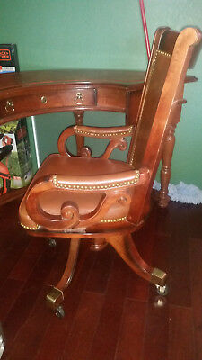 Pulasky Furniture Corp. Antique Half Moon Desk and Chair by