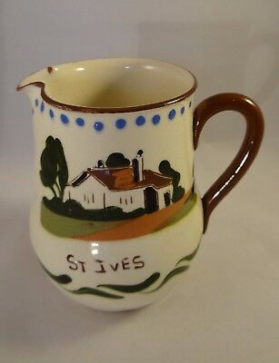 Vintage Devon Torquay Watcombe Pottery Motto Ware Water Jug Pitcher St Ives VGC