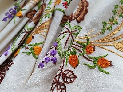 Beautiful Vintage Hand Embroidered Tablecloth with Flowers and Crocheted Edge