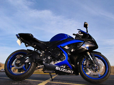 2007 Suzuki GSX-R GSX-R600 2007 SUZUKI GSX-R750 DARK BLUE AND BLACK TINTED SHIELD CUSTOM CUT EXHAUST