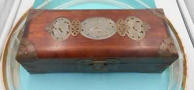 Unique Wood Carved Stone Oriental Jewelry Box From Estate