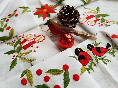 Beautiful Vintage Hand Embroidered Christmas Tablecloth