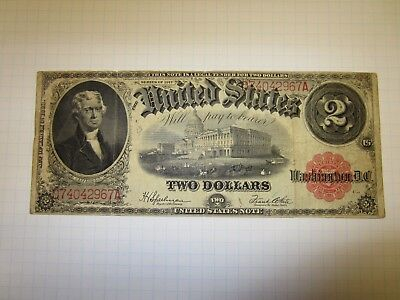 United States Large 1917 Two Dollar Bill Legal Tender Red Seal