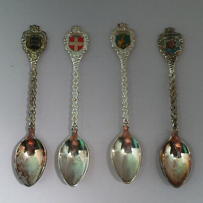 LOT OF 4 VINTAGE SILVER PLATED SOUVENIR SPOONS - Danmark