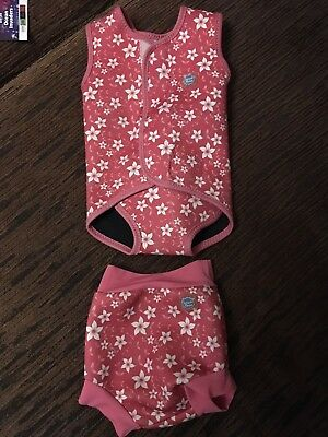 Splash About Pink Blossom Swim Wrap And Happy Nappy 9-18 Months XLarge