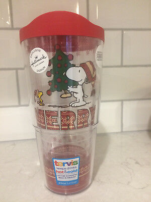 Tervis NEW Peanuts Snoopy & Woodstock Merry Christmas Tree 24-oz Tumbler w/Lid