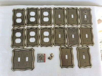 Lot of 15 Vtg Brass Gold Finish AmerTac Electric Outlet Light Switch Cover Plate