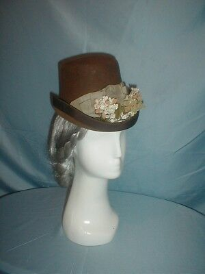 Antique Hat 1870 Brown Felt Ribbon Floral and Berry Trim
