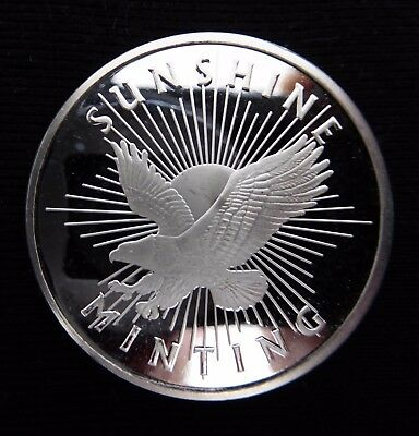 1 oz Sunshine Mint Silver Round 999 Fine Silver with Free Postage
