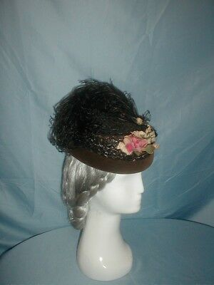 Antique Hat 1870 Black Straw Feather and Floral Trim