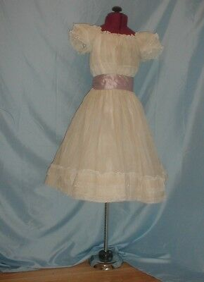 Antique Child's Dress 1890 White Organdy and Lace Young Girl's Party Dress