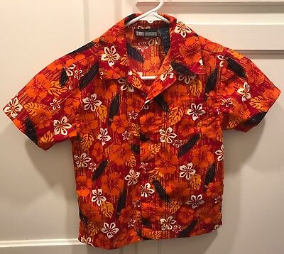 FADED GLORY Boys Sz 4T Polyester Hawaiian Short Sleeve Button Down Shirt