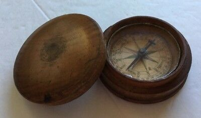 Vintage Antique Round Wooden Wood Hand held Compass Very Early Primitive