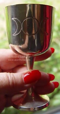 SMALL TRIPLE MOON CHALICE 105 mm Wicca Pagan Witch Goth Punk Goddess Ritual