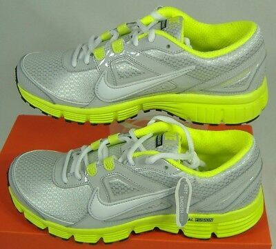 New Womens 11.5 NIKE Dual Fusion ST Gray Hot Lime Running Shoes $68 407847-008