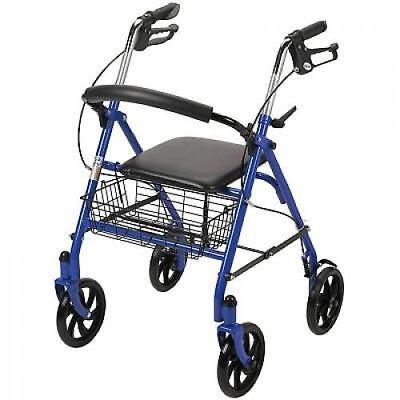 Adult Walker With Seat Wheels Fold Up Brakes Basket Blue Deluxe New
