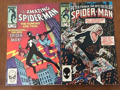 Amazing Spider-Man 252 & Spectacular Spider-Man 90 1st Black Costume FN+