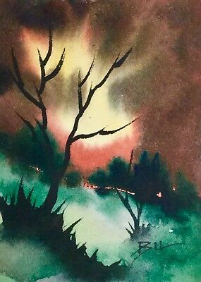 ACEO SFA Original Art Watercolour Painting by Bill Lupton  - Mystery Hill
