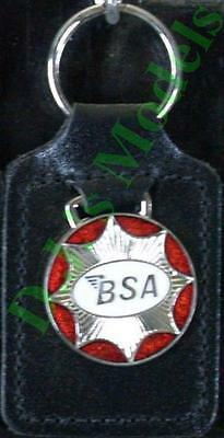 B.S.A. Star Keyring Key Ring - badge mounted on a leather fob