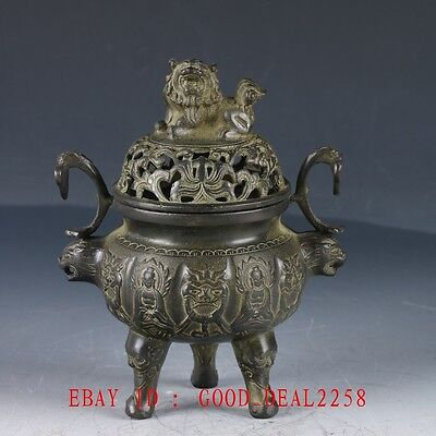 Crusted Bronze Hand Made  Buddha&Lion Incense Burner With Xuande Mark QT069