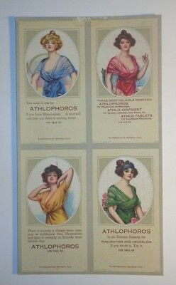 4 ATHLOPHOROS UNCUT ADVERTISING TRADE BLOTTERS  RHEUMATISM-NEURALGIA CURE c1900
