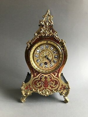 French Boulle Mantel Clock with Pendulum & Key  Brass / Red Shell Ormolu Mounts