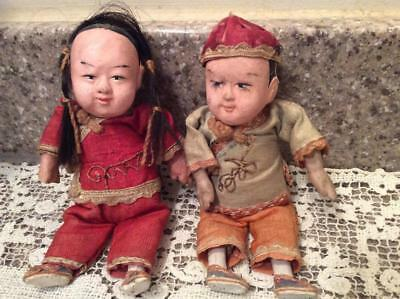 """ANTIQUE CHINESE Composition & Cloth Body Boy & Girl Dolls Silk Clothes, 5 1/2"""""""