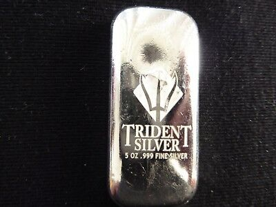 5 oz Trident Silver .999 Fine Silver Bar with Free Postage