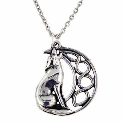 St Justin Pewter Howling Wolf Moon Pendant Necklace in Gift Box PN733