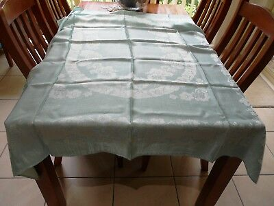 Vintage Cotton Rayon Damask Tablecloth Mint Green 170cm x 140cm Geranium design