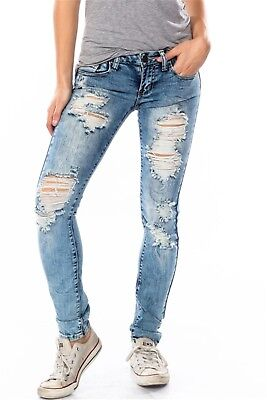 3407 Women Denim CUT OUT STONE WASH MID-RISE DISTRESSED SKINNY JEANS