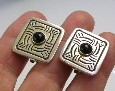 Estate Vintage Stunning MEXICO Sterling Silver Black Onyx Clip On Earrings