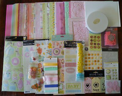 Bulk Scrapbooking Pack Girl with stickers papers ribbons embellishments brads