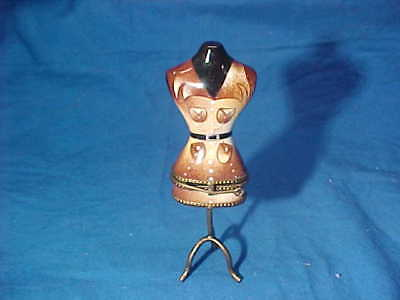 Vintage PEINT MAIN LIMOGES France DRESS MAKERS FORM Figural PIN BOX