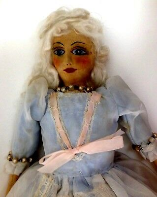 Antique early 1900's cloth Boudoir doll. Blond hair hand painted face 43.5 cm