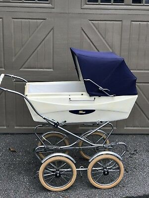 Vintage Italian  Perego  Baby Stroller Carriage-Navy Blue-Made in Italy