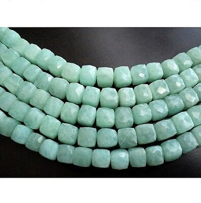 Amazonite Faceted Box Gemstone Beads 8mm Beads 4.5 Inch Half Strand 14 Pieces
