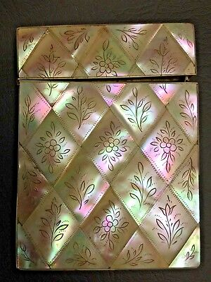 No 2013084, Large Antique Engraved Mother of Pearl Card Case