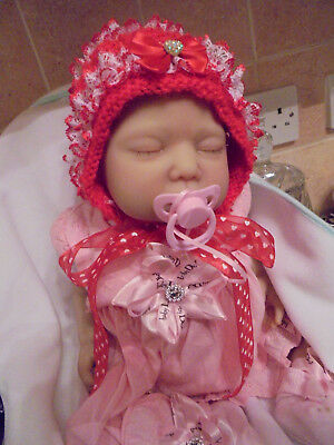 "Handknitted Christmas Red  Lacy Bling  Bonnet Baby 0-3M  Reborn Size 20""-22"""